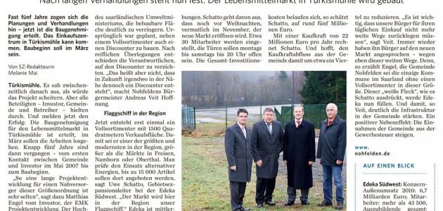 Nahversorgungszentrum Nohfelden-Türkismühle Zeitungsartikel St. Wendeler Zeitung