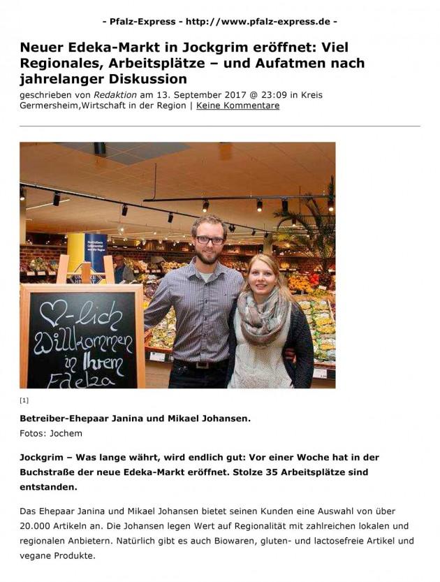 Pfalz-Express: Neuer EDEKA-Markt in Jockgrim eröffnet